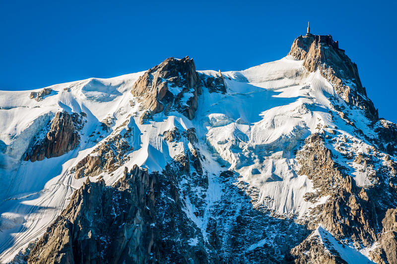 Aiguille du Midi, 3 842 m height, French Alps, Chamonix, France. Aiguille du Midi 3 842 m height French Alps Chamonix,France stock photography
