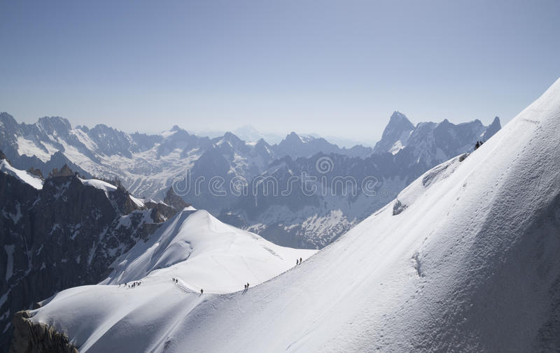 Aiguille du Midi , Mont Blanc massif , French Alps. Calm morning view on the Aiguille du Midi - 3,842 m ,mountain in the Mont Blanc massif , French Alps stock photo