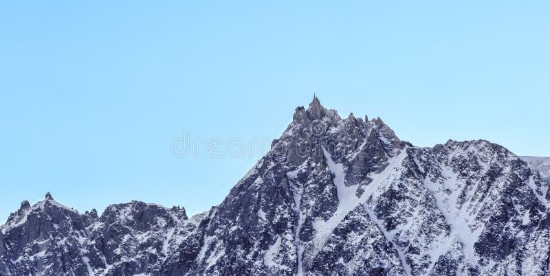 Aiguille du Midi - Mont Blanc Massif. Winter image of Aiguille du Midi 3842m in Mont Blanc Massif stock photos