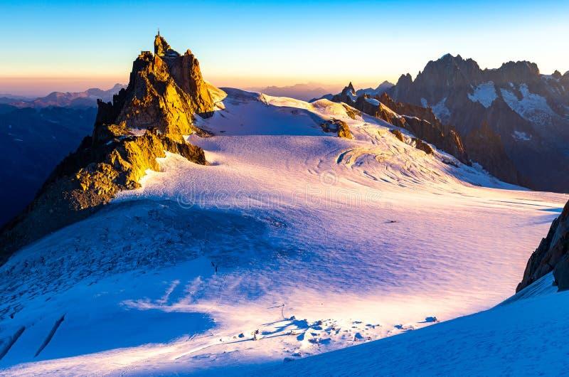 Aiguille du Midi mountain ridge sunrise view royalty free stock image