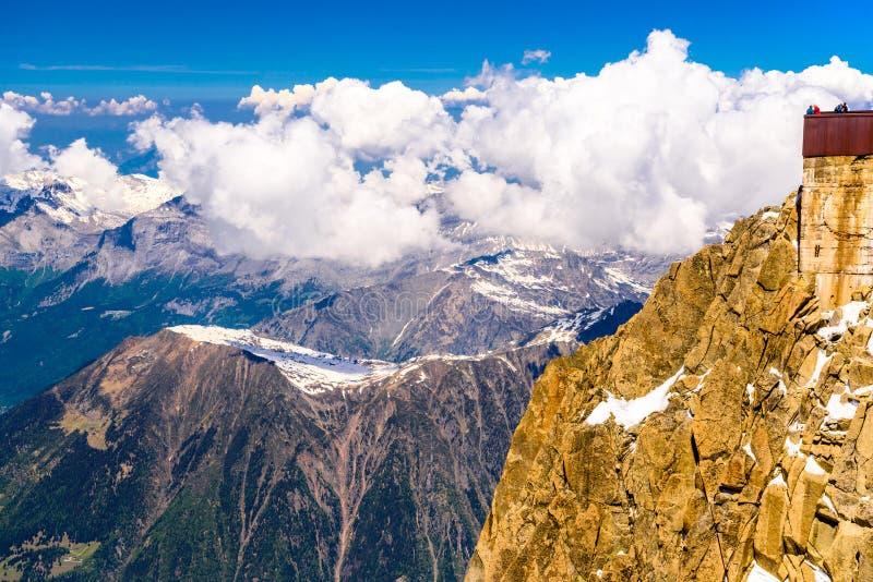 Aiguille du Midi -observatiepost Chamonix, Mont Blanc, Haute-Savoie, Alpen, Frankrijk stock fotografie