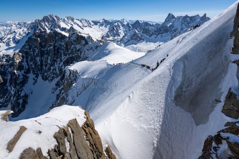 Aiguille du Midi -rand in de Winter Chamonix Mont Blanc, hautes-Savoie, Europese Alpen, Frankrijk stock foto's