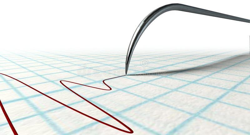 Aiguille et dessin de détecteur de mensonges illustration de vecteur