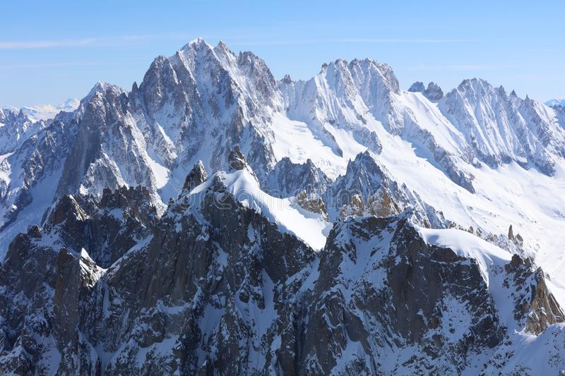 Aiguille Verte Chamonix Needles and Les Droites in Mont Blanc Massif. Chamonix stock photos