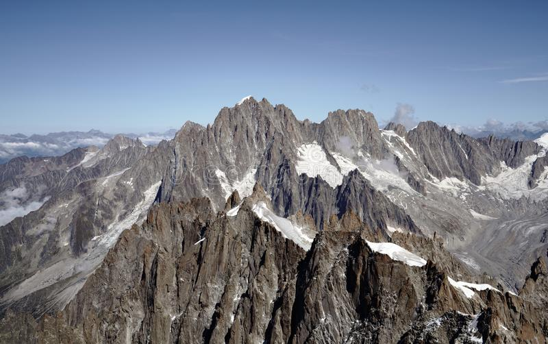 Aiguille Verte 4,122m 13,524 ft mountain in the French Alps. stock photo