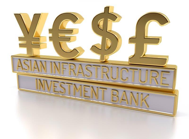 AIIB - El banco de inversión asiático de la infraestructura - 3D rinden stock de ilustración
