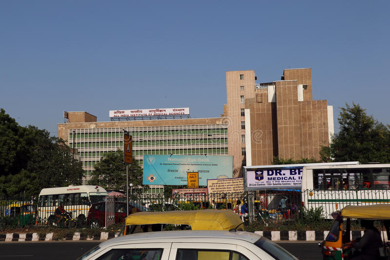 AIIMS - Allt Indien institut av medicinska vetenskaper som bygger, New Delhi arkivbild