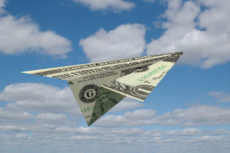 Aiirplane de papier fait en argent photos libres de droits