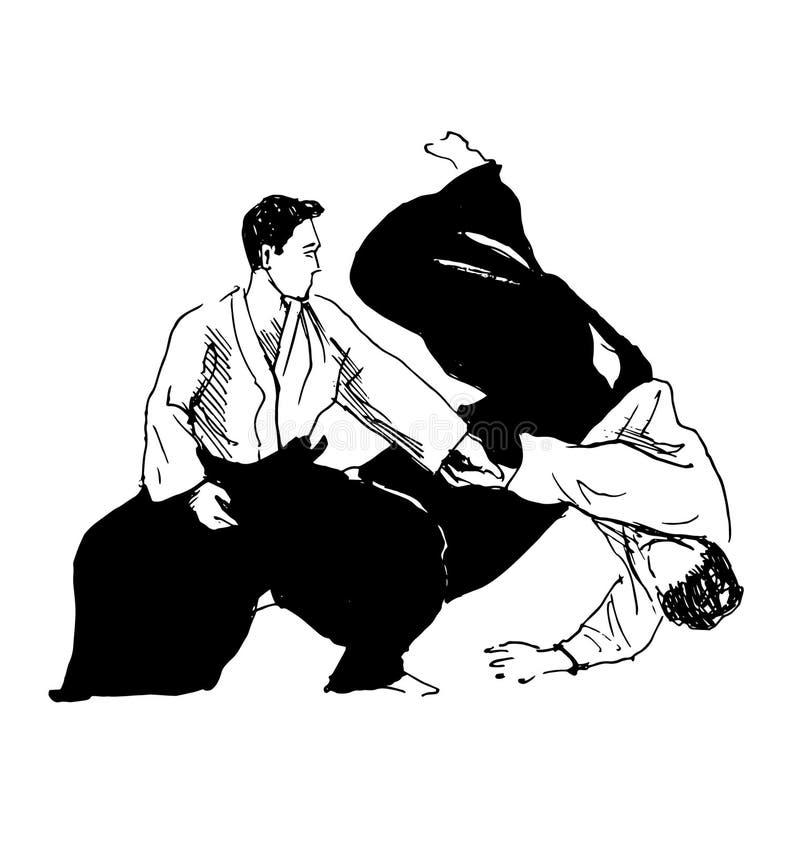 Aikido de los combatientes del bosquejo de la mano ilustración del vector