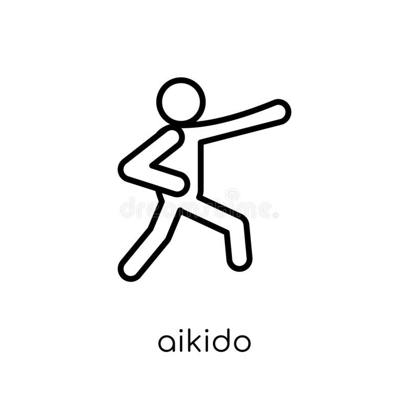 aikido icon. Trendy modern flat linear vector aikido icon on white background from thin line sport collection royalty free illustration