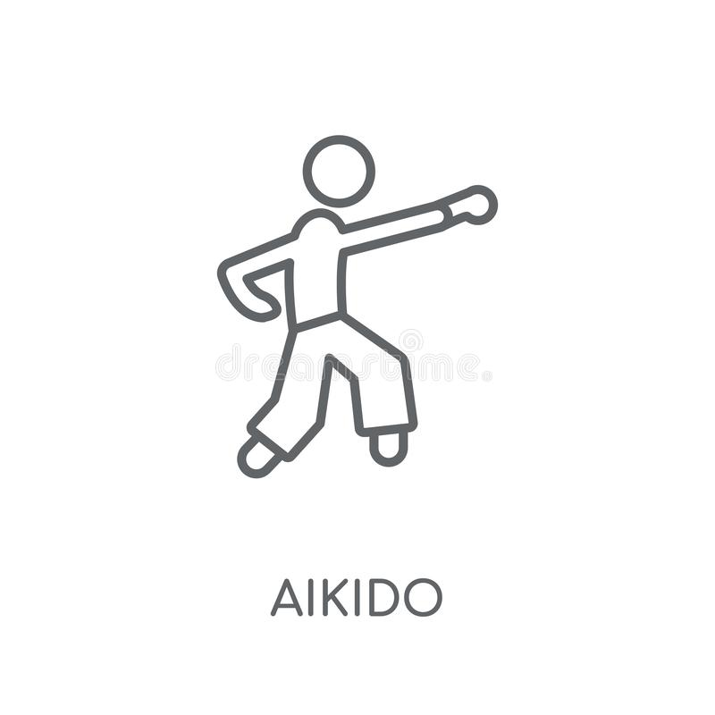 aikido linear icon. Modern outline aikido logo concept on white royalty free illustration