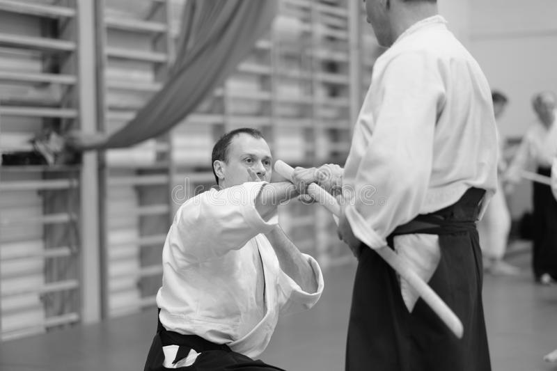 Aikido. The moment of the duel in the martial art of aikido royalty free stock photo