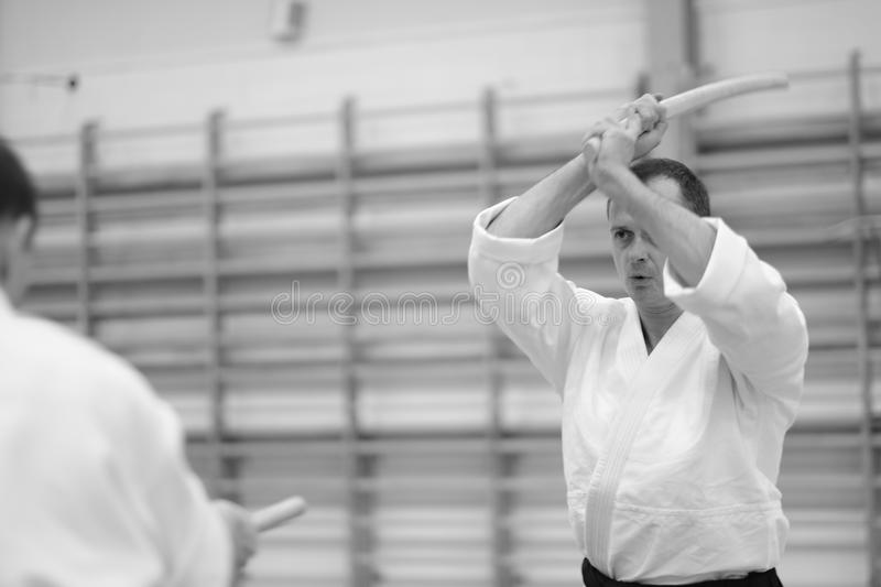 Aikido. The moment of the duel in the martial art of aikido royalty free stock image