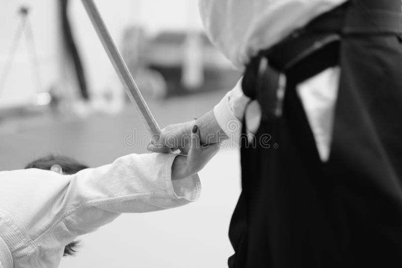 Aikido. The moment of the duel in the martial art of aikido royalty free stock photos