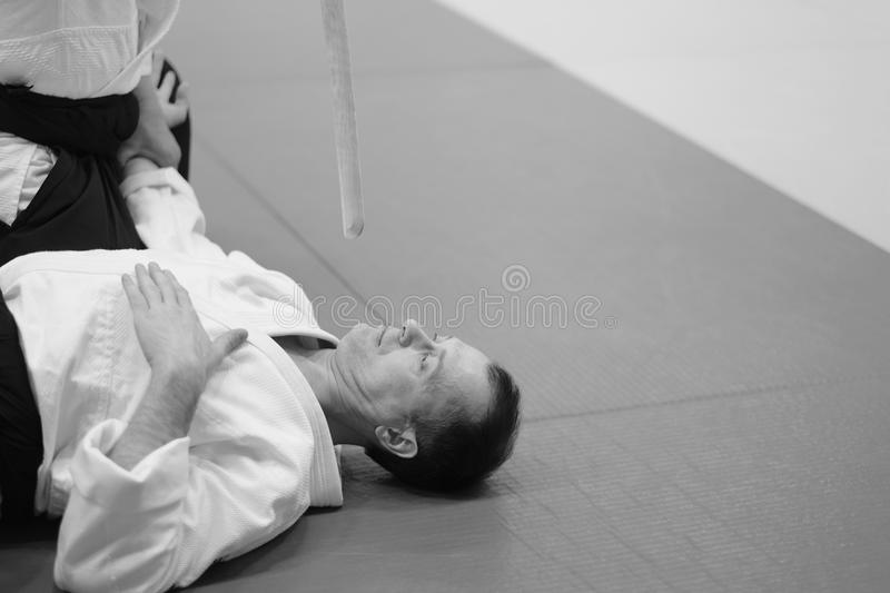Aikido. The moment of a training match in the martial art of aikido stock photo