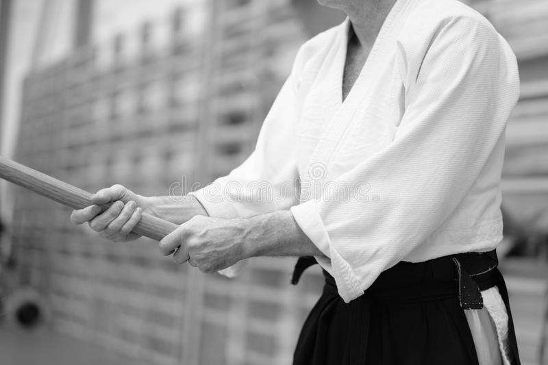 Aikido. The moment of a training match in the martial art of aikido royalty free stock photo
