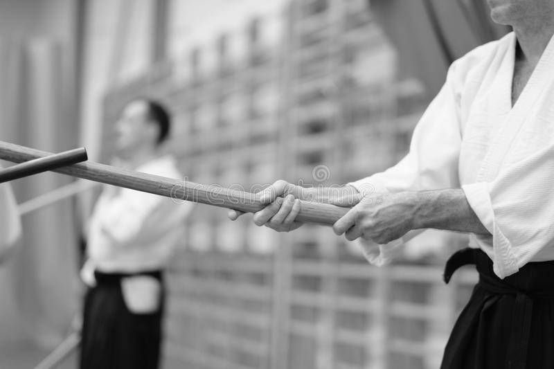 Aikido. The moment of a training match in the martial art of aikido stock image