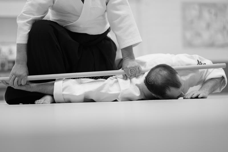 Aikido. The moment of a training match in the martial art of aikido stock photos