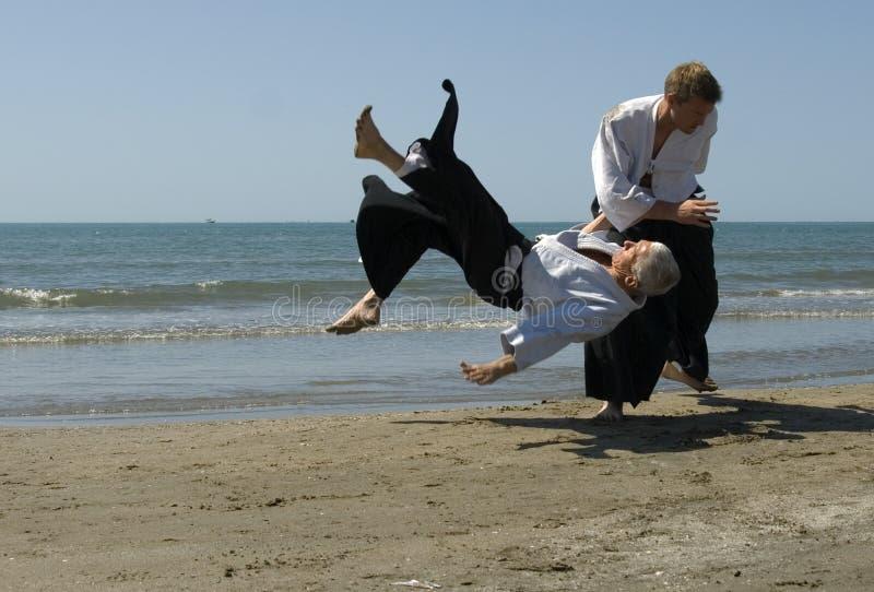 Aikido op het strand stock foto