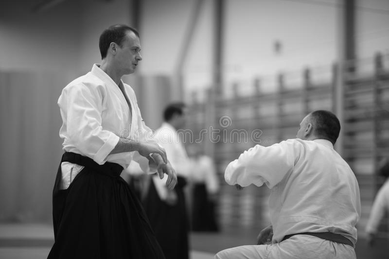 Aikido. Sharpening skill in training in the martial art of aikido stock photos