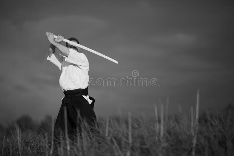 Aikidoman med svärdet arkivfoton