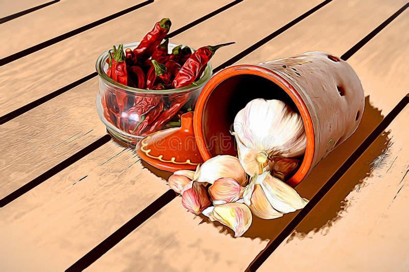 Ail et poivron rouge épicé dans un pot en verre un fond blanc illustration de vecteur
