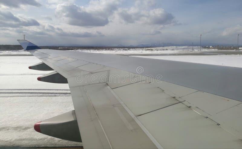 Aile d'avion prise de la fenêtre plate, avec le fond de montagne, le ciel bleu, et la bâche de neige dans le secteur entier photographie stock libre de droits