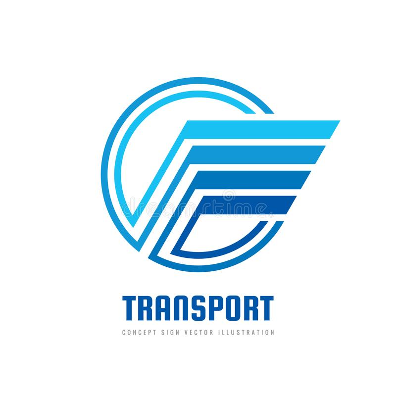 Aile de vitesse - dirigez l'illustration de concept de calibre de logo dans la couleur bleue Forme abstraite d'aile dans le signe illustration de vecteur