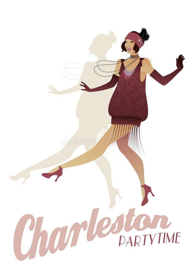 Aileron élégant Femme élégante dansant Charleston illustration stock
