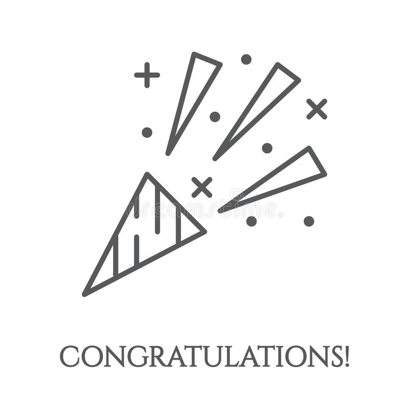 Aileron avec l'icône de confettis - élément de salut de félicitation pour la carte de voeux ou l'invitation de partie illustration stock