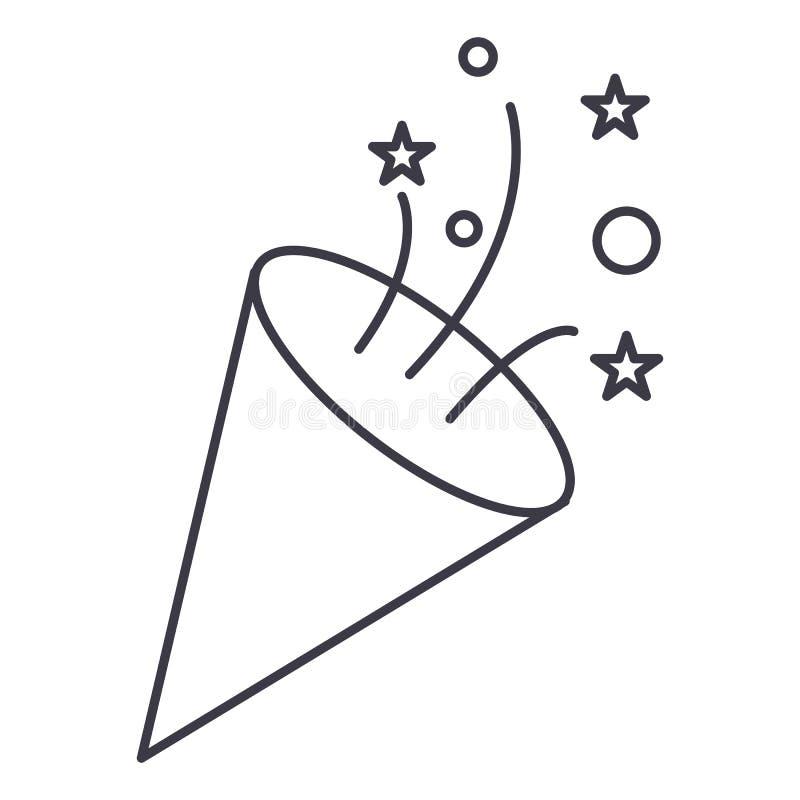 Aileron, ligne icône, signe, illustration de vecteur de pétard sur le fond, courses editable illustration libre de droits