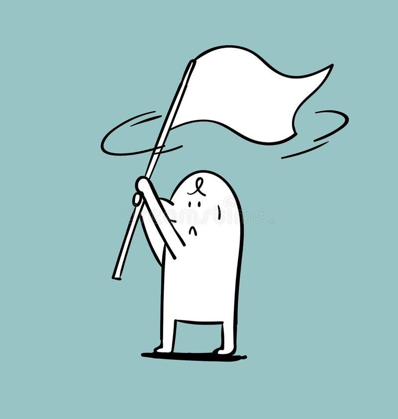 Aileron simple d'homme le drapeau blanc illustration libre de droits