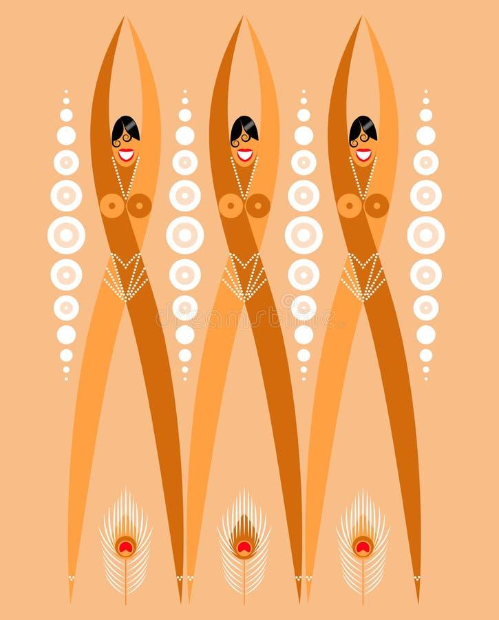 Ailerons de filles des années 1920 Illustration stylisée de danseurs Plumes de perle et de paon illustration de vecteur