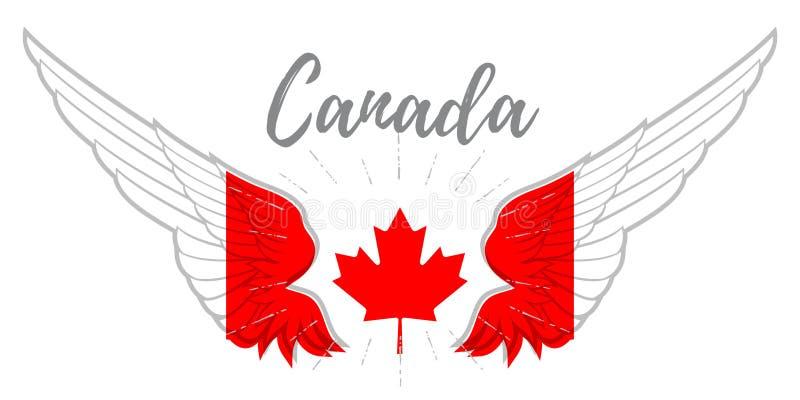 Ailes avec les couleurs canadiennes de drapeau, la feuille d'érable et le Canada d'inscription illustration stock