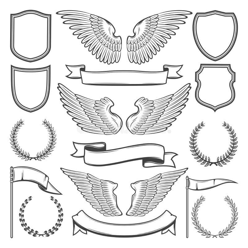 Ailes, boucliers et rubans héraldiques, vecteur illustration stock