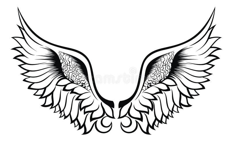 Ailes. Conception de tatouage illustration de vecteur