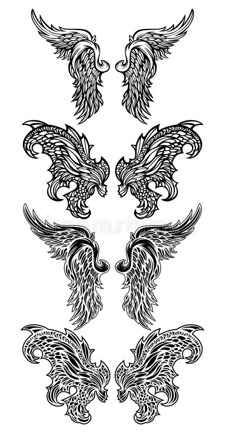 Ailes d'ange de vecteur et ailes de démon illustration de vecteur