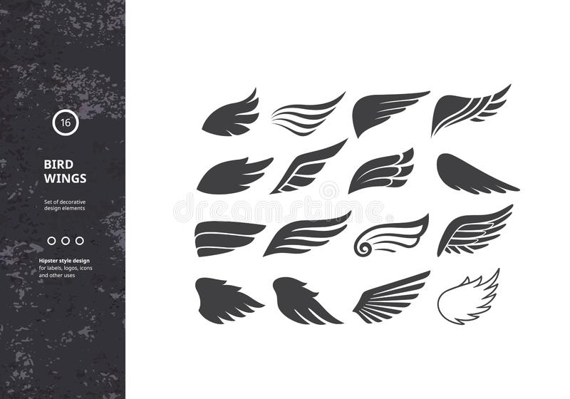 Ailes d'oiseau Ensemble de bras d'oiseaux de calibre Signe de vecteur pour des tatouages, des logos, des labels et des ic?nes Ail illustration de vecteur
