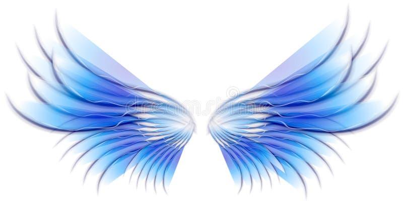 Ailes d'oiseau ou de fée d'ange bleues illustration de vecteur
