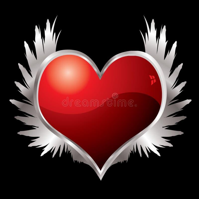 Ailes de coeur d'amour illustration stock