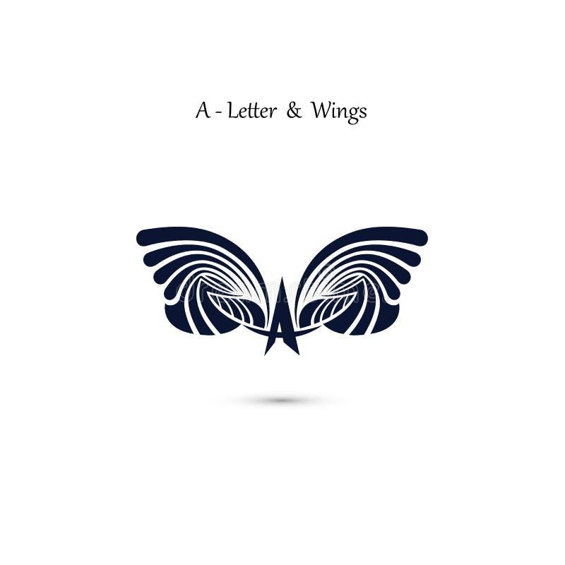ailes de signe et d'ange d'Un-lettre Calibre de logo de vecteur d'aile de monogramme illustration de vecteur