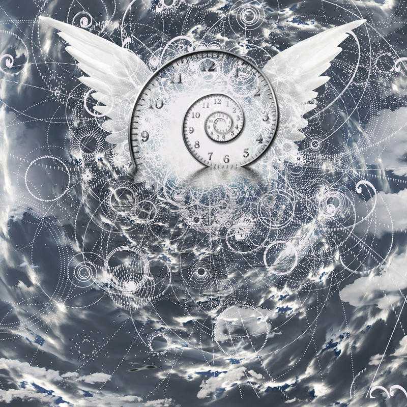 Ailes et spirale de temps illustration stock