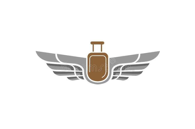 Ailes pointues et logo créatif de voyage d'airbag illustration de vecteur
