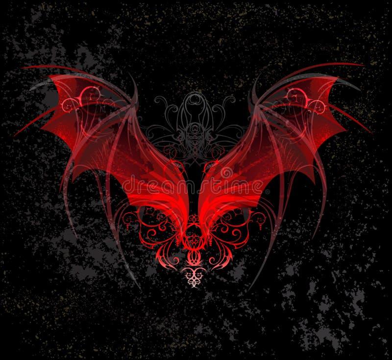 Ailes rouges de dragon illustration stock