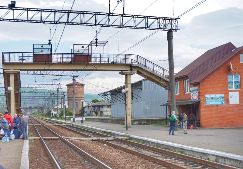 Ailway tracks in one of the small cities of Western Ukraine. royalty free stock images