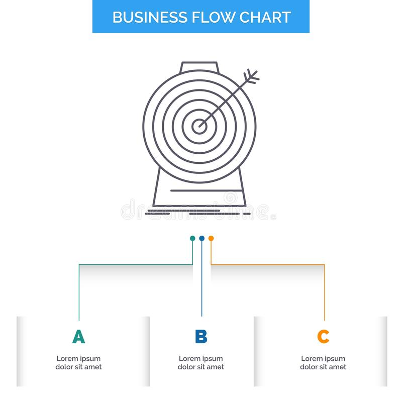 Aim, focus, goal, target, targeting Business Flow Chart Design with 3 Steps. Line Icon For Presentation Background Template Place vector illustration