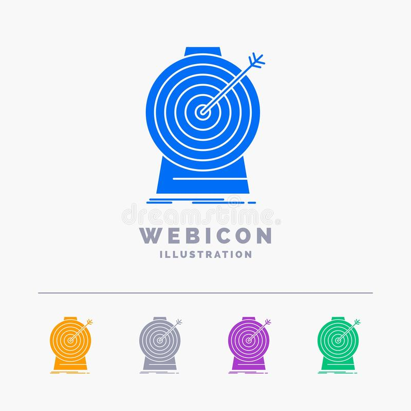Aim, focus, goal, target, targeting 5 Color Glyph Web Icon Template isolated on white. Vector illustration stock illustration