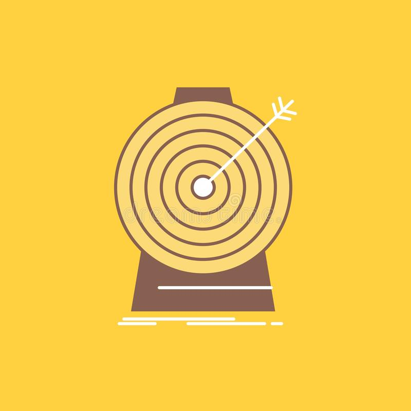 Aim, focus, goal, target, targeting Flat Line Filled Icon. Beautiful Logo button over yellow background for UI and UX, website or stock illustration