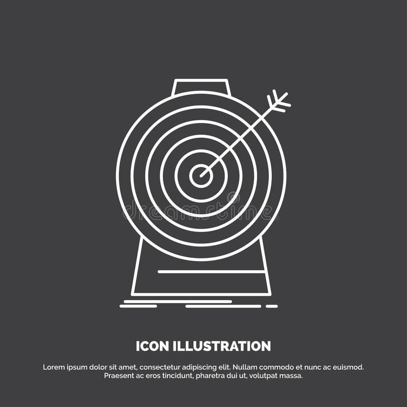 Aim, focus, goal, target, targeting Icon. Line vector symbol for UI and UX, website or mobile application royalty free illustration