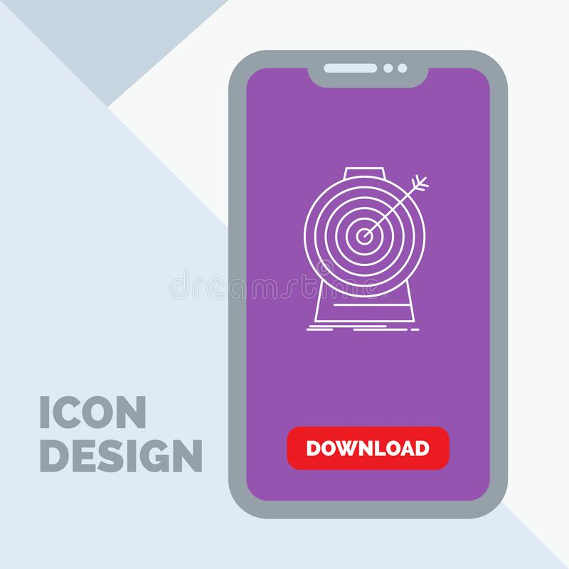 Aim, focus, goal, target, targeting Line Icon in Mobile for Download Page royalty free illustration